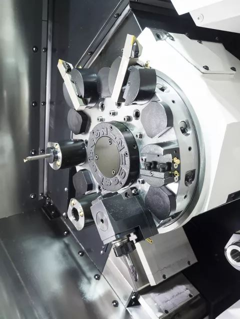 Turret tooling on a CNC lathe